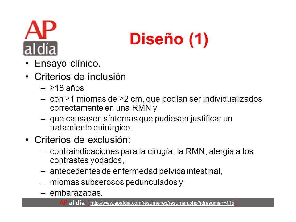 AP al día [ http://www.apaldia.com/resumenes/resumen.php idresumen=415 ] Diseño (1) Ensayo clínico.