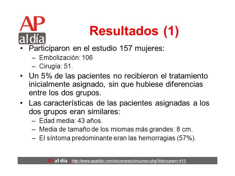 AP al día [ http://www.apaldia.com/resumenes/resumen.php idresumen=415 ] Resultados (1) Participaron en el estudio 157 mujeres: –Embolización: 106 –Cirugía: 51.