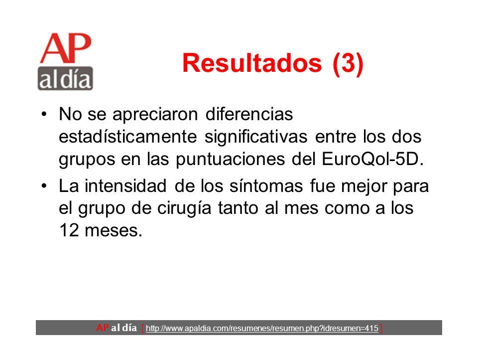 AP al día [ http://www.apaldia.com/resumenes/resumen.php idresumen=415 ] Resultados (3) No se apreciaron diferencias estadísticamente significativas entre los dos grupos en las puntuaciones del EuroQol-5D.