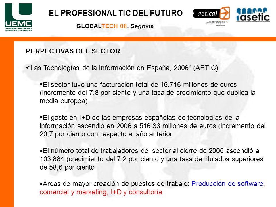 GLOBALTECH 08, Segovia PERPECTIVAS DEL SECTOR Las Tecnologías de la Información en España, 2006 (AETIC) El sector tuvo una facturación total de 16.716 millones de euros (incremento del 7,8 por ciento y una tasa de crecimiento que duplica la media europea) El gasto en I+D de las empresas españolas de tecnologías de la información ascendió en 2006 a 516,33 millones de euros (incremento del 20,7 por ciento con respecto al año anterior El número total de trabajadores del sector al cierre de 2006 ascendió a 103.884 (crecimiento del 7,2 por ciento y una tasa de titulados superiores de 58,6 por ciento Áreas de mayor creación de puestos de trabajo: Producción de software, comercial y marketing, I+D y consultoría