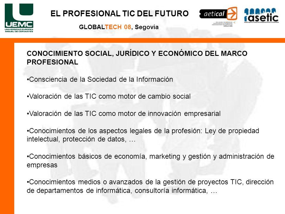 EL PROFESIONAL TIC DEL FUTURO GLOBALTECH 08, Segovia CONOCIMIENTO SOCIAL, JURÍDICO Y ECONÓMICO DEL MARCO PROFESIONAL Consciencia de la Sociedad de la Información Valoración de las TIC como motor de cambio social Valoración de las TIC como motor de innovación empresarial Conocimientos de los aspectos legales de la profesión: Ley de propiedad intelectual, protección de datos, … Conocimientos básicos de economía, marketing y gestión y administración de empresas Conocimientos medios o avanzados de la gestión de proyectos TIC, dirección de departamentos de informática, consultoría informática, …