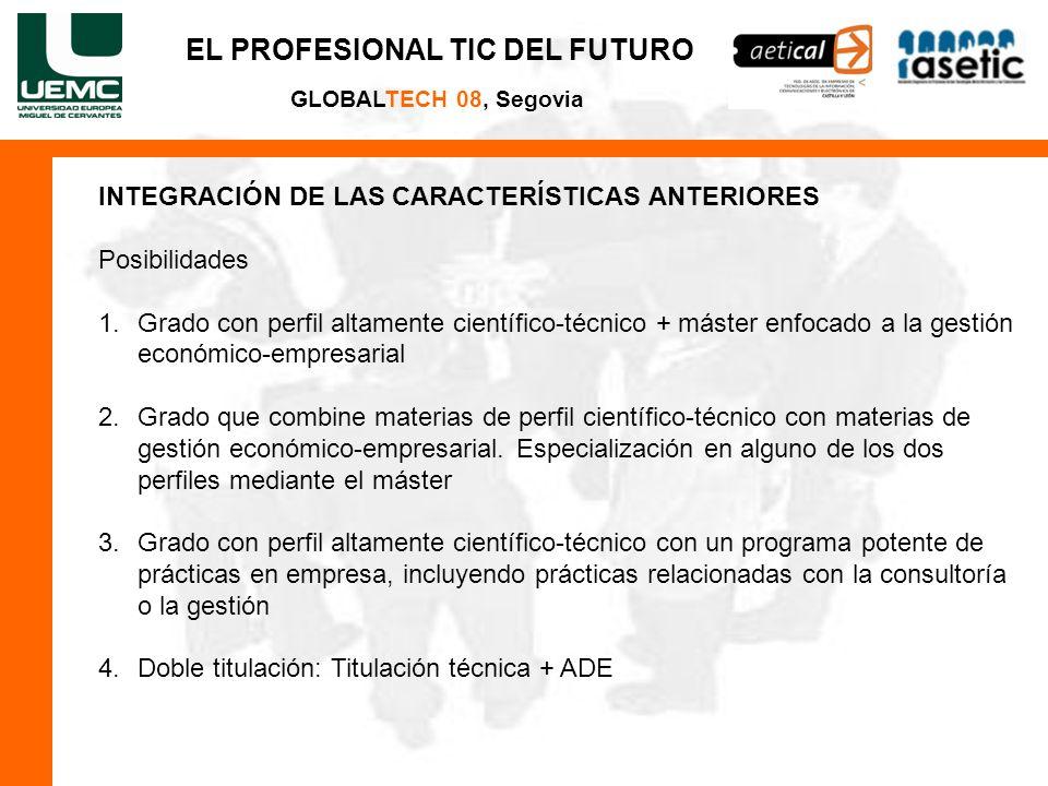 EL PROFESIONAL TIC DEL FUTURO GLOBALTECH 08, Segovia INTEGRACIÓN DE LAS CARACTERÍSTICAS ANTERIORES Posibilidades 1.Grado con perfil altamente científi