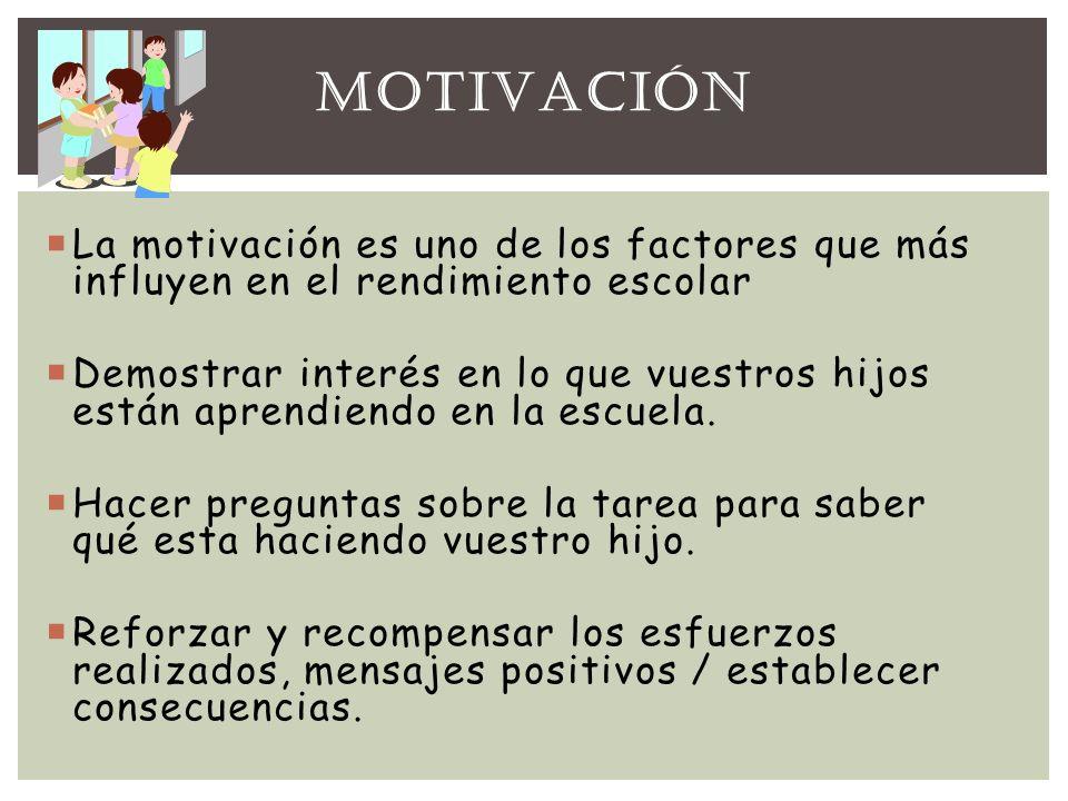 La motivación es uno de los factores que más influyen en el rendimiento escolar Demostrar interés en lo que vuestros hijos están aprendiendo en la esc
