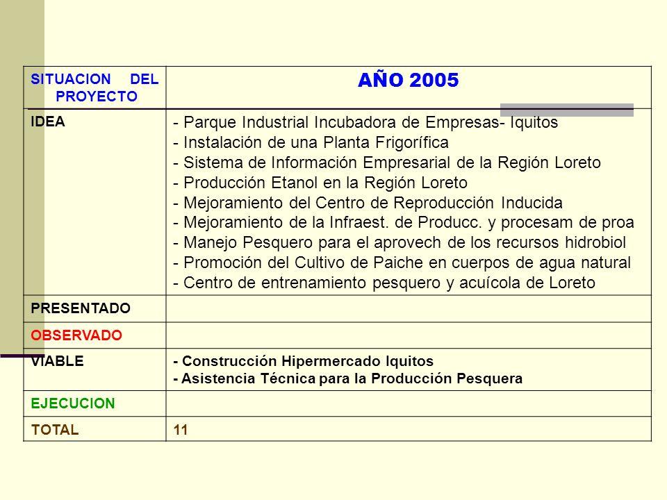 SITUACION DEL PROYECTO AÑO 2005 IDEA - Parque Industrial Incubadora de Empresas- Iquitos - Instalación de una Planta Frigorífica - Sistema de Informac