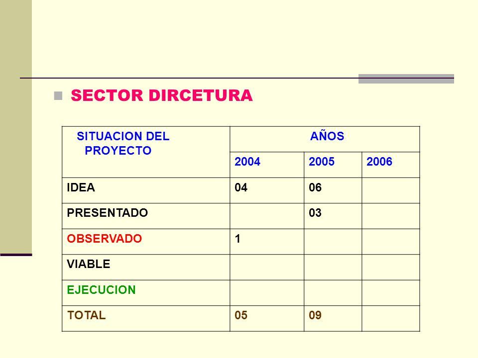 SECTOR DIRCETURA SITUACION DEL PROYECTO AÑOS 200420052006 IDEA0406 PRESENTADO03 OBSERVADO1 VIABLE EJECUCION TOTAL0509