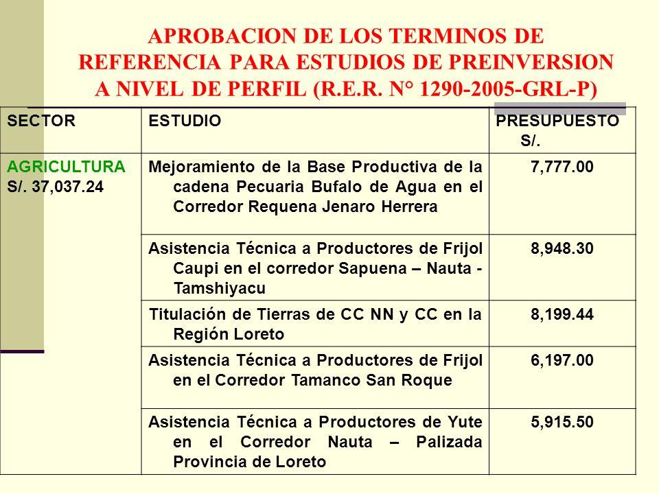 APROBACION DE LOS TERMINOS DE REFERENCIA PARA ESTUDIOS DE PREINVERSION A NIVEL DE PERFIL (R.E.R. N° 1290-2005-GRL-P) SECTORESTUDIOPRESUPUESTO S/. AGRI