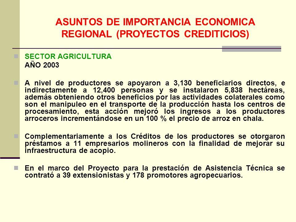ASUNTOS DE IMPORTANCIA ECONOMICA REGIONAL (PROYECTOS CREDITICIOS) SECTOR AGRICULTURA AÑO 2003 A nivel de productores se apoyaron a 3,130 beneficiarios directos, e indirectamente a 12,400 personas y se instalaron 5,838 hectáreas, además obteniendo otros beneficios por las actividades colaterales como son el manipuleo en el transporte de la producción hasta los centros de procesamiento, esta acción mejoró los ingresos a los productores arroceros incrementándose en un 100 % el precio de arroz en chala.