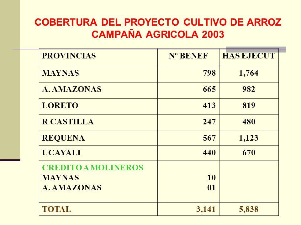 COBERTURA DEL PROYECTO CULTIVO DE ARROZ CAMPAÑA AGRICOLA 2003 PROVINCIASNº BENEFHAS EJECUT MAYNAS7981,764 A. AMAZONAS665982 LORETO413819 R CASTILLA247