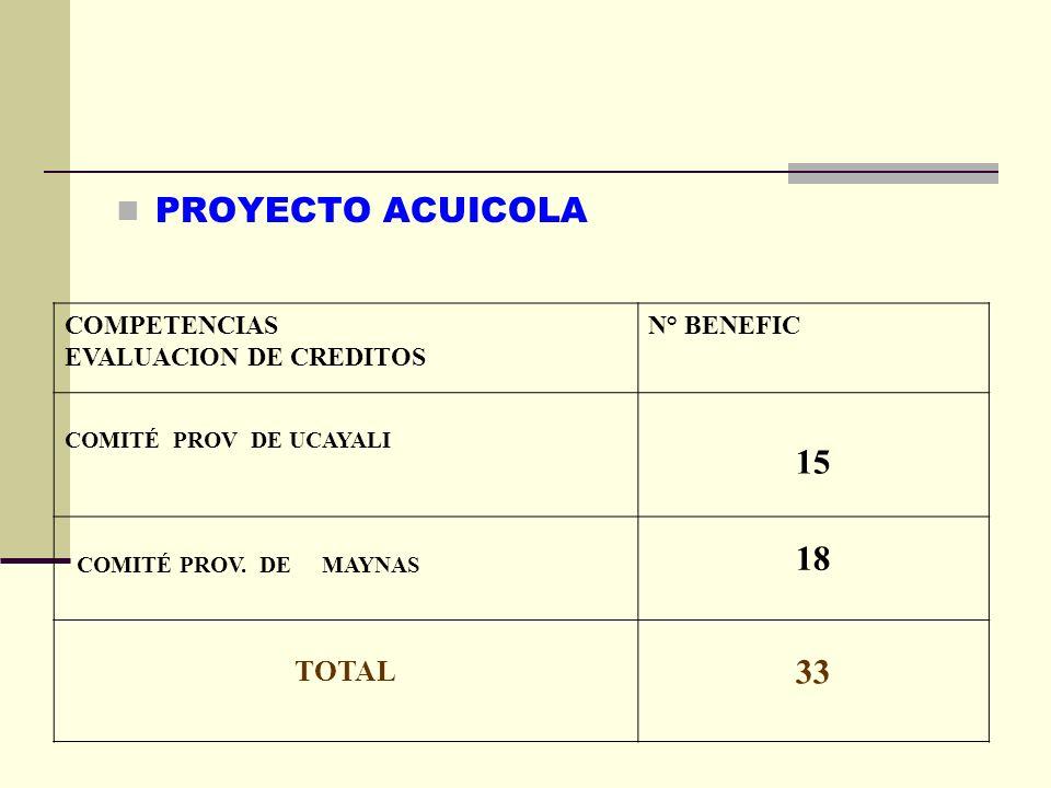 PROYECTO ACUICOLA COMPETENCIAS EVALUACION DE CREDITOS N° BENEFIC COMITÉ PROV DE UCAYALI 15 COMITÉ PROV. DE MAYNAS 18 TOTAL 33