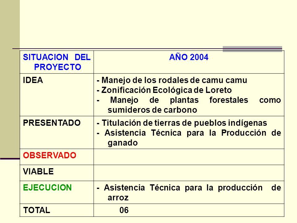 SITUACION DEL PROYECTO AÑO 2004 IDEA- Manejo de los rodales de camu camu - Zonificación Ecológica de Loreto - Manejo de plantas forestales como sumideros de carbono PRESENTADO- Titulación de tierras de pueblos indígenas - Asistencia Técnica para la Producción de ganado OBSERVADO VIABLE EJECUCION- Asistencia Técnica para la producción de arroz TOTAL 06