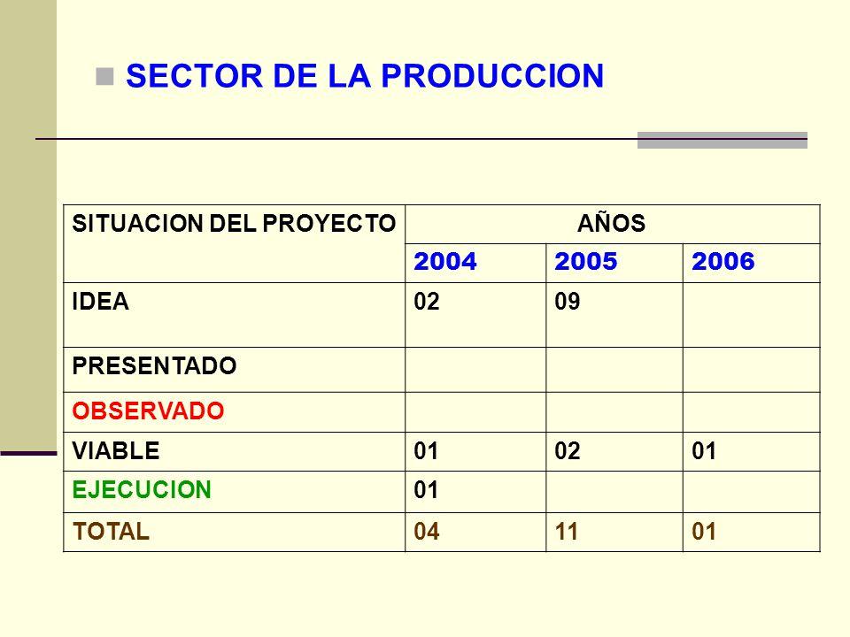 SECTOR DE LA PRODUCCION SITUACION DEL PROYECTOAÑOS 200420052006 IDEA0209 PRESENTADO OBSERVADO VIABLE010201 EJECUCION01 TOTAL041101