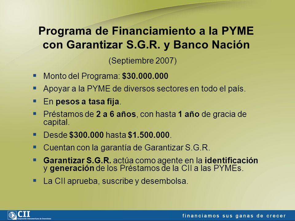En el pipeline: Nuevas líneas con intermediarios financieros Infraestructura portuaria Industria alimenticia Producción de conservas Producción vitivinícola Autopartes Industria maderera La CII en la Argentina