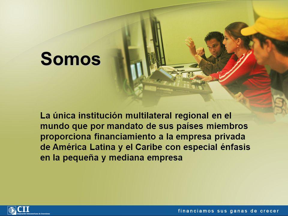 La única institución multilateral regional en el mundo que por mandato de sus países miembros proporciona financiamiento a la empresa privada de América Latina y el Caribe con especial énfasis en la pequeña y mediana empresa Somos