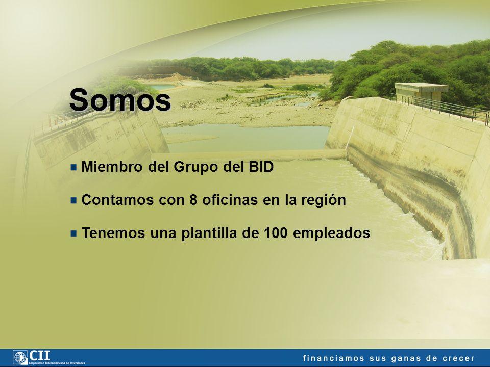 Somos Miembro del Grupo del BID Contamos con 8 oficinas en la región Tenemos una plantilla de 100 empleados