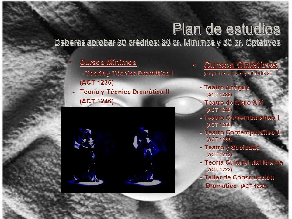 Plan de estudios Deberás aprobar 50 créditos: 20 cr.