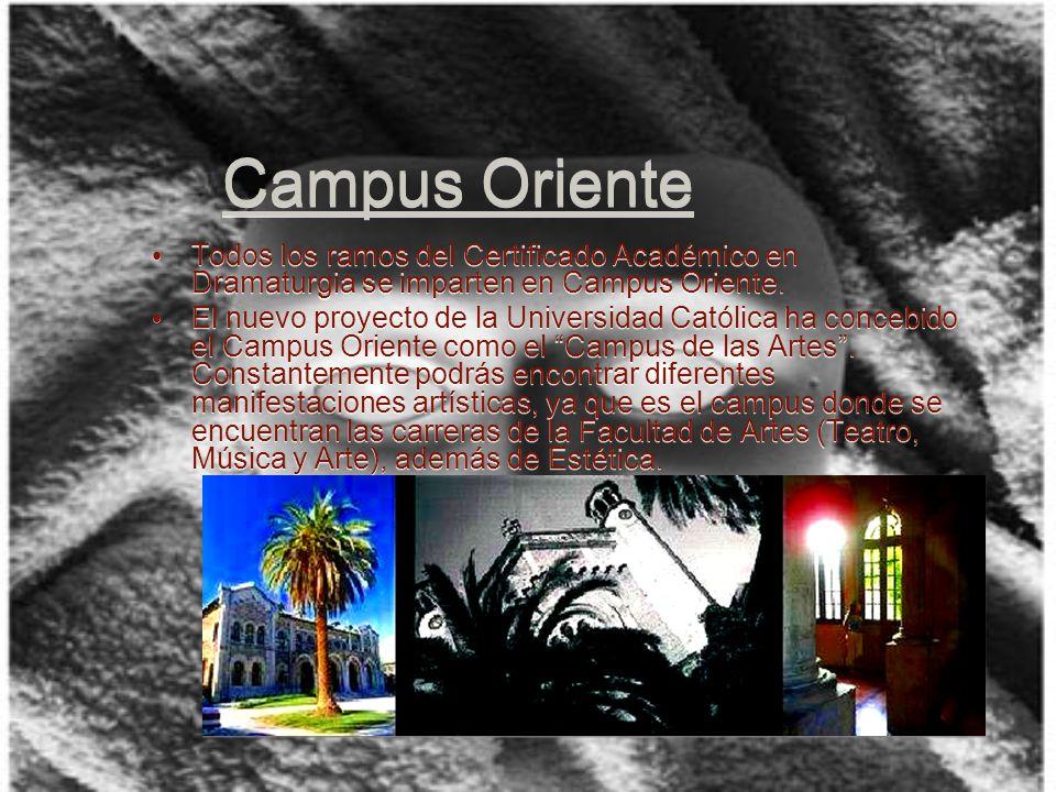 Campus Oriente Todos los ramos del Certificado Académico en Dramaturgia se imparten en Campus Oriente.