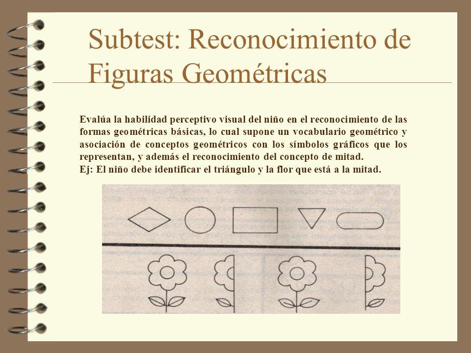 Subtest: Reconocimiento de Figuras Geométricas Evalúa la habilidad perceptivo visual del niño en el reconocimiento de las formas geométricas básicas,