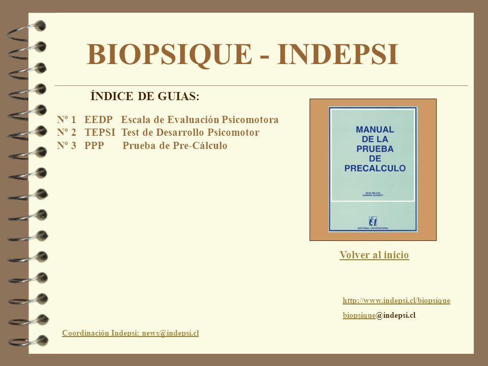 BIOPSIQUE - INDEPSI Coordinación Indepsi: news@indepsi.cl http://www.indepsi.cl/biopsique biopsiquebiopsique@indepsi.cl Volver al inicio ÍNDICE DE GUI
