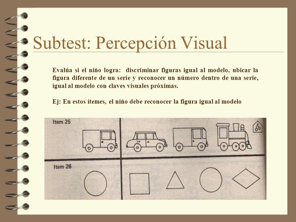 Subtest: Percepción Visual Evalúa si el niño logra: discriminar figuras igual al modelo, ubicar la figura diferente de un serie y reconocer un número