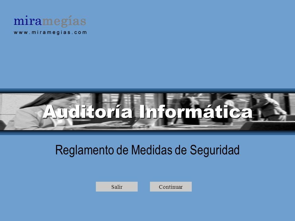 Auditoría Informática Reglamento de Medidas de Seguridad SalirContinuar