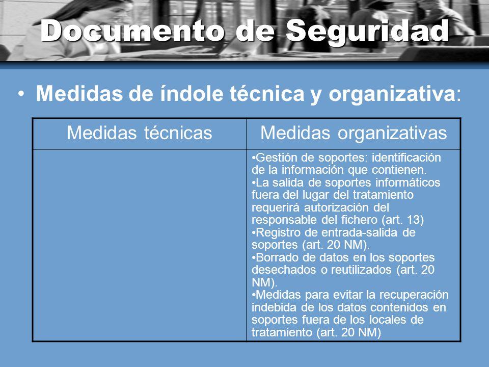 Documento de Seguridad Medidas de índole técnica y organizativa: Medidas técnicasMedidas organizativas Gestión de soportes: identificación de la información que contienen.