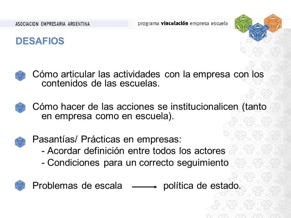 Cómo articular las actividades con la empresa con los contenidos de las escuelas. Cómo hacer de las acciones se institucionalicen (tanto en empresa co
