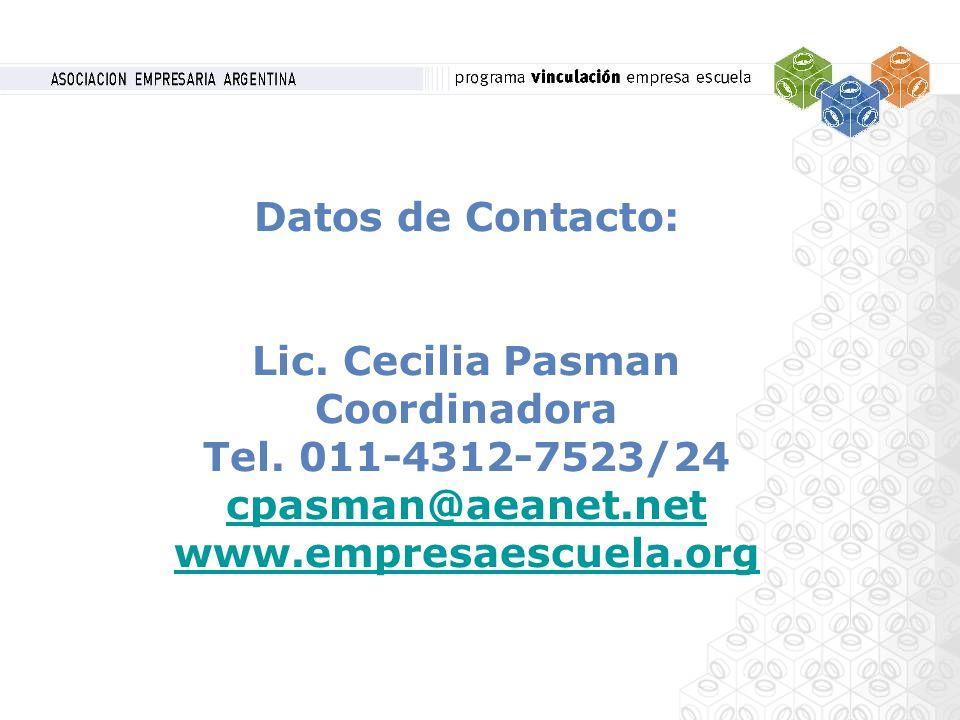 Datos de Contacto: Lic. Cecilia Pasman Coordinadora Tel. 011-4312-7523/24 cpasman@aeanet.net www.empresaescuela.org