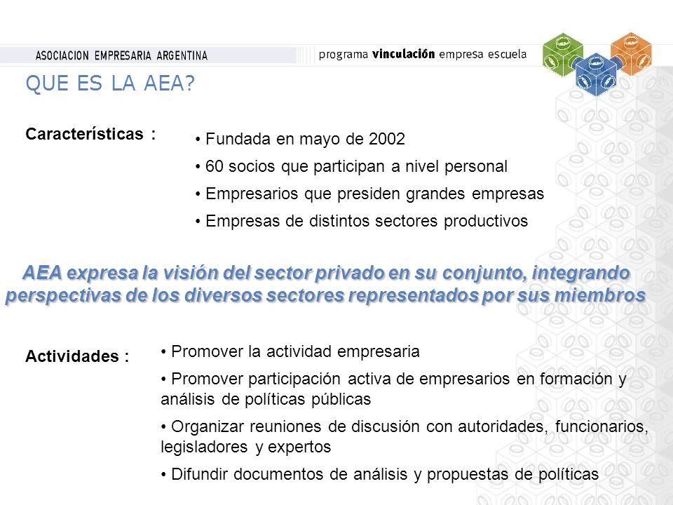 QUE ES LA AEA? Características : Fundada en mayo de 2002 60 socios que participan a nivel personal Empresarios que presiden grandes empresas Empresas