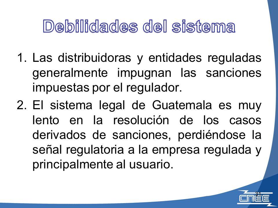 1.Las distribuidoras y entidades reguladas generalmente impugnan las sanciones impuestas por el regulador. 2.El sistema legal de Guatemala es muy lent