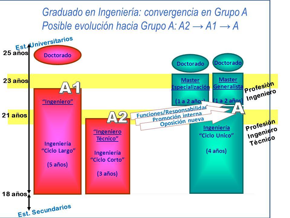 18 años 21 años 23 años Doctorado Ingeniero Ingeniería Ciclo Largo (5 años) Est.