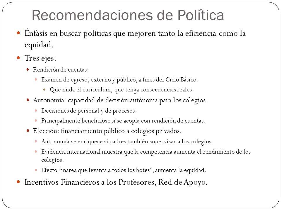 Recomendaciones de Política Énfasis en buscar políticas que mejoren tanto la eficiencia como la equidad.