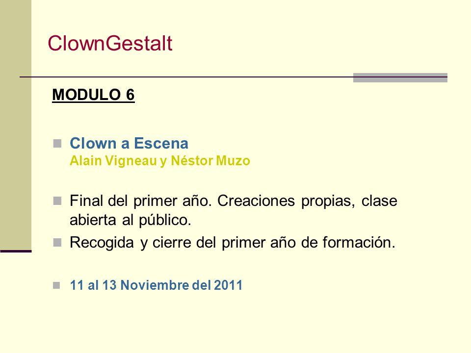 ClownGestalt MODULO 5 Clown: la Confianza Alain Vigneau La confianza: mostrarme y ser recibido por el público con lo que soy. La escucha: escuchar y s