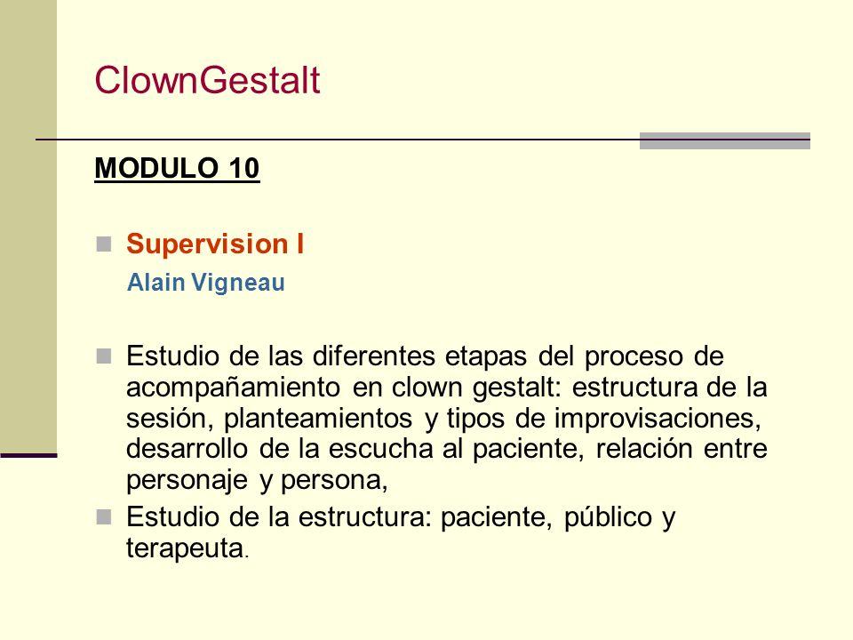 ClownGestalt MODULO 9 Clown & Sombra II (Feminidad y masculinidad) Alain Vigneau El interior de la persona jugado en clown, improvisaciones grupales y