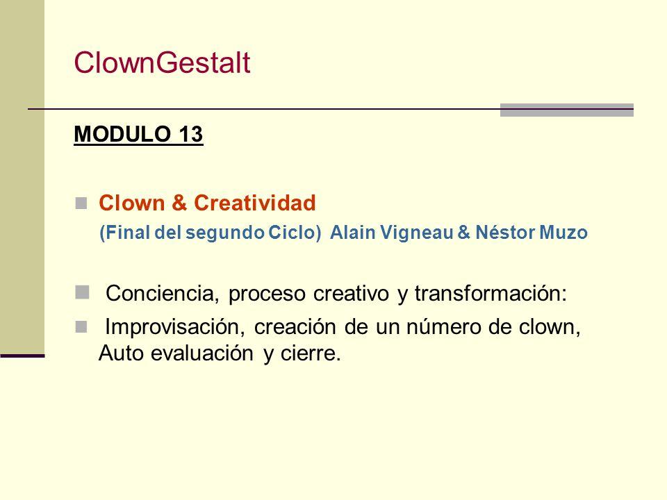 ClownGestalt MODULO 12 Supervisión II Néstor Muzo Trabajos individuales y en grupo. El proceso del paciente, la intervención del terapeuta. Propuestas