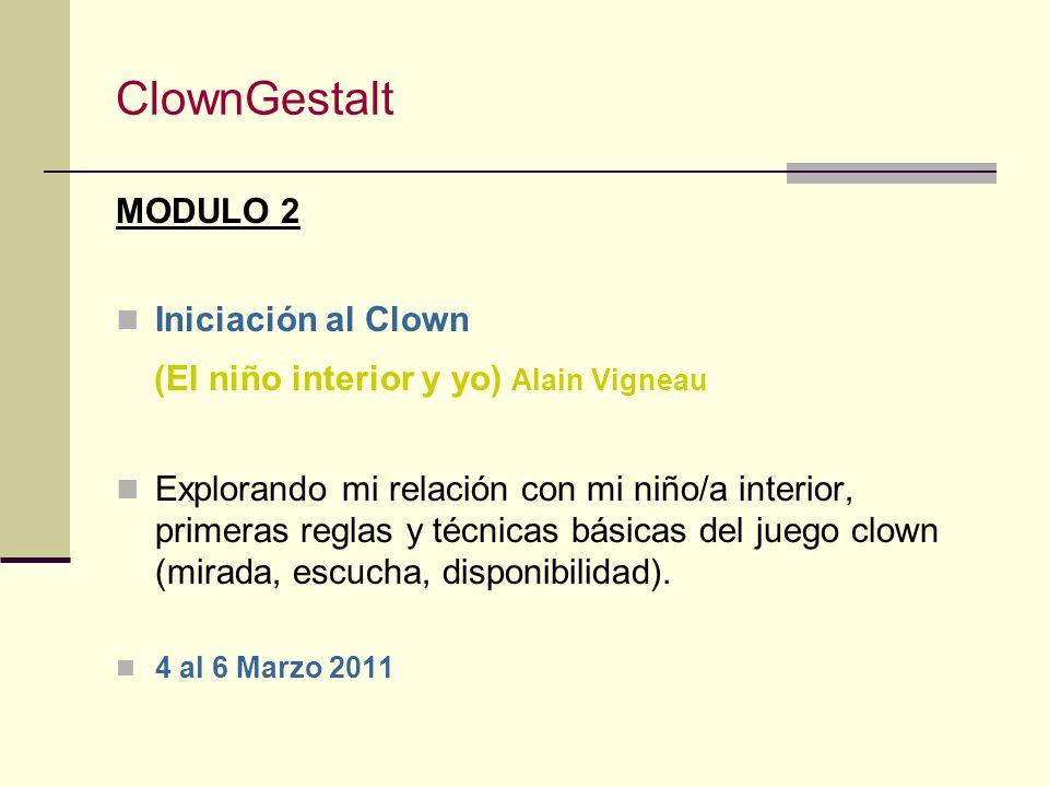ClownGestalt MODULO 1 Expresión & Juego (El Espíritu Clown) Néstor Muzo Introducción al teatro, al juego y la improvisación a través de la expresión y