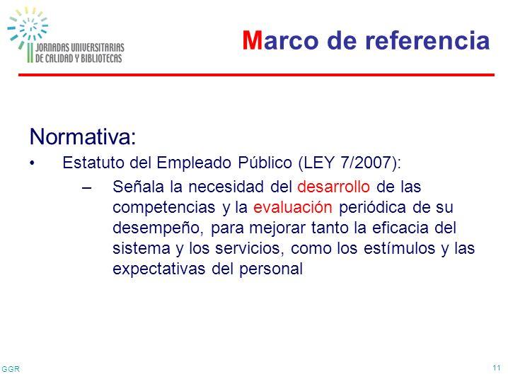 GGR 11 Normativa: Estatuto del Empleado Público (LEY 7/2007): –Señala la necesidad del desarrollo de las competencias y la evaluación periódica de su