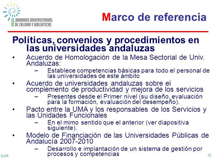GGR 12 Políticas, convenios y procedimientos en las universidades andaluzas Acuerdo de Homologación de la Mesa Sectorial de Univ. Andaluzas: –Establec