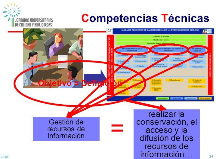 GGR 24 Proceso clave = Gestión de recursos de información Competencia técnica realizar la conservación, el acceso y la difusión de los recursos de inf