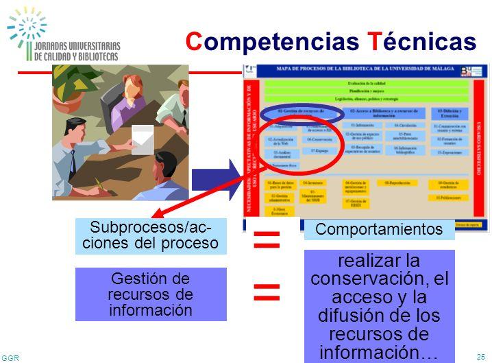 GGR 25 Proceso clave = Gestión de recursos de información Competencia técnica realizar la conservación, el acceso y la difusión de los recursos de inf