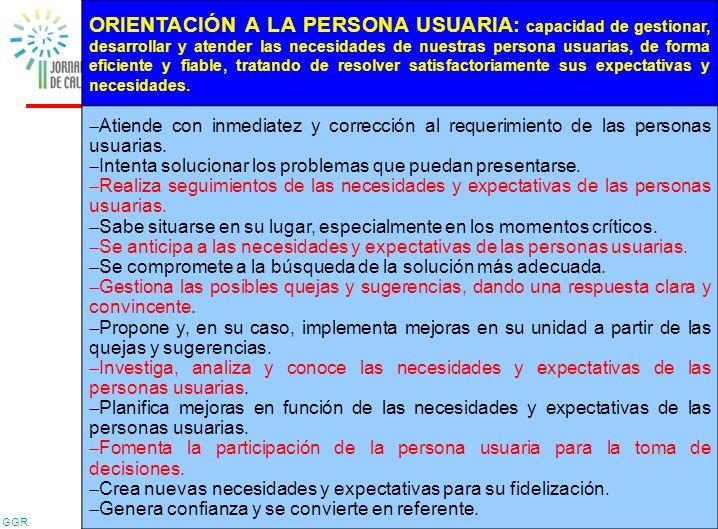 GGR 32 ORIENTACIÓN A LA PERSONA USUARIA: capacidad de gestionar, desarrollar y atender las necesidades de nuestras persona usuarias, de forma eficient