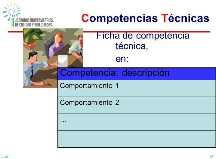 GGR 34 Competencia: descripción Comportamiento 1 Comportamiento 2 … Ficha de competencia técnica, en: Competencias Técnicas
