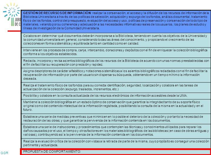 GGR 35 Competencias Técnicas GESTIÓN DE RECURSOS DE INFORMACIÓN: realizar la conservación, el acceso y la difusión de los recursos de información de l