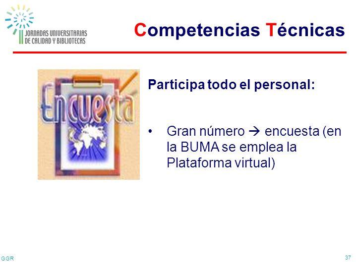 GGR 37 Participa todo el personal: Gran número encuesta (en la BUMA se emplea la Plataforma virtual) Competencias Técnicas