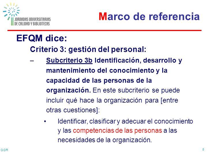 GGR 8 EFQM dice: Criterio 3: gestión del personal: –Subcriterio 3b Identificación, desarrollo y mantenimiento del conocimiento y la capacidad de las p