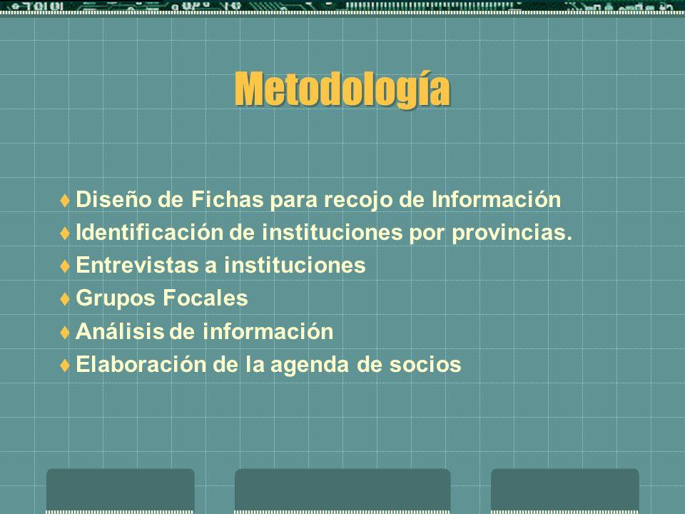 Metodología Diseño de Fichas para recojo de Información Identificación de instituciones por provincias.