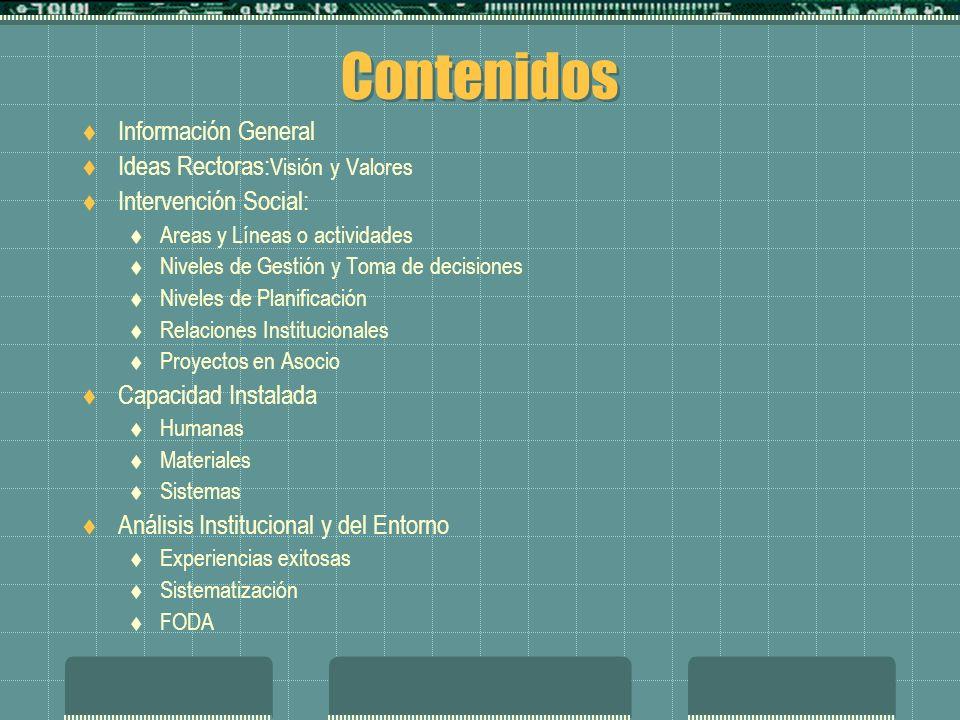 Contenidos Información General Ideas Rectoras: Visión y Valores Intervención Social: Areas y Líneas o actividades Niveles de Gestión y Toma de decisiones Niveles de Planificación Relaciones Institucionales Proyectos en Asocio Capacidad Instalada Humanas Materiales Sistemas Análisis Institucional y del Entorno Experiencias exitosas Sistematización FODA