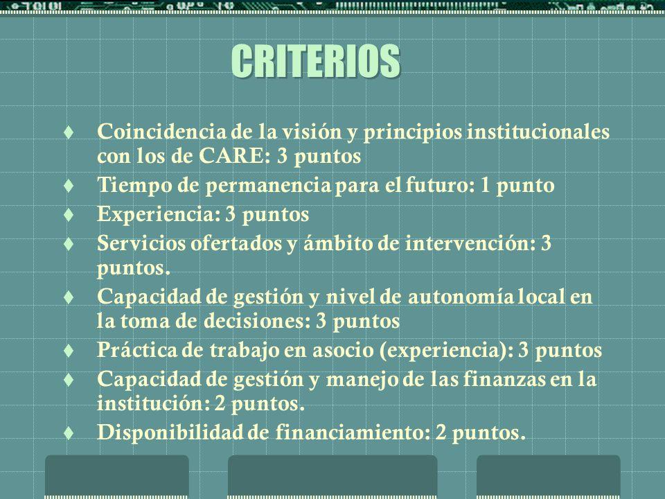 CRITERIOS Coincidencia de la visión y principios institucionales con los de CARE: 3 puntos Tiempo de permanencia para el futuro: 1 punto Experiencia: 3 puntos Servicios ofertados y ámbito de intervención: 3 puntos.