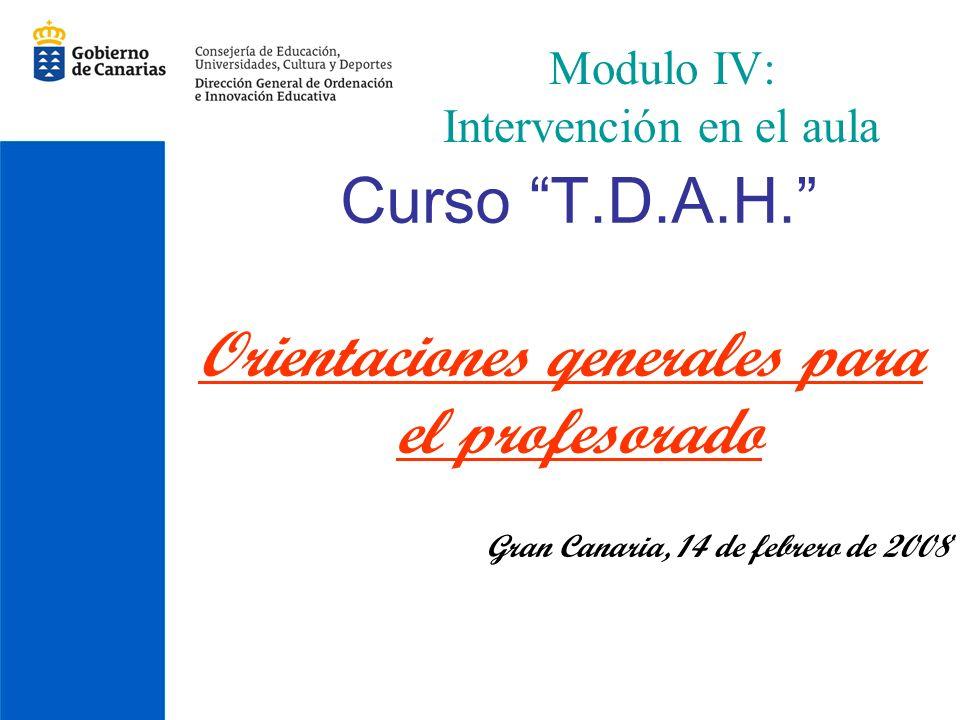 Modulo IV: Intervención en el aula Curso T.D.A.H. Orientaciones qenerales para el profesorado Gran Canaria, 14 de febrero de 2008