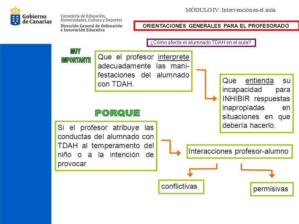 MÓDULO IV: Intervención en el aula ¿Cómo afecta el alumnado TDAH en el aula? Que el profesor interprete adecuadamente las mani- festaciones del alumna