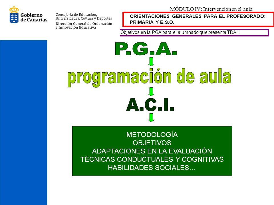 MÓDULO IV: Intervención en el aula ORIENTACIONES GENERALES PARA EL PROFESORADO: PRIMARIA Y E.S.O. Objetivos en la PGA para el alumnado que presenta TD
